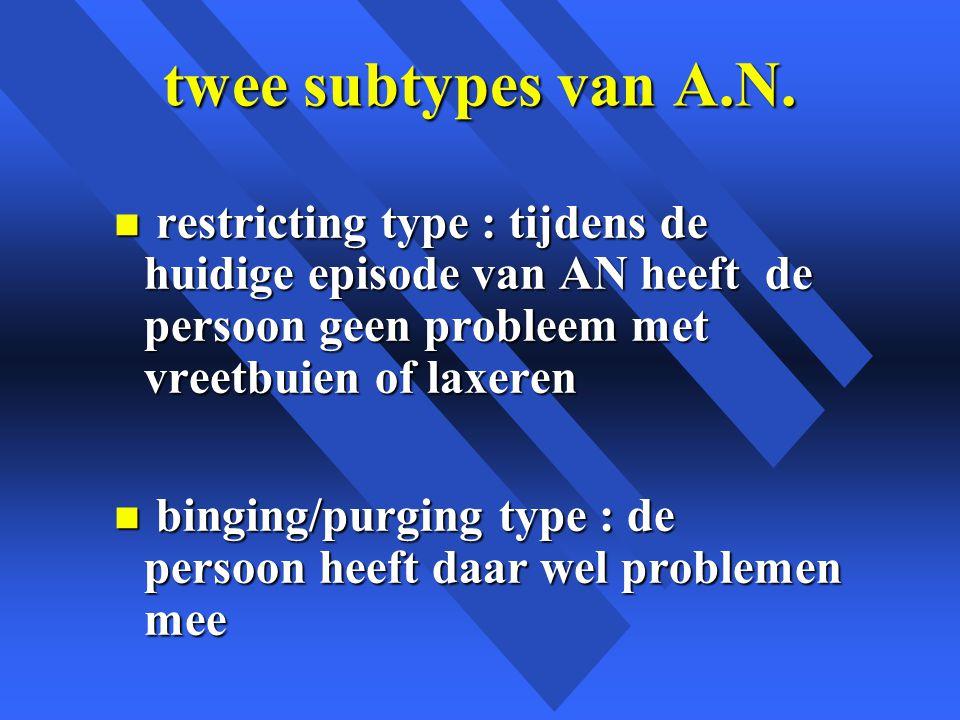 twee subtypes van A.N. restricting type : tijdens de huidige episode van AN heeft de persoon geen probleem met vreetbuien of laxeren.