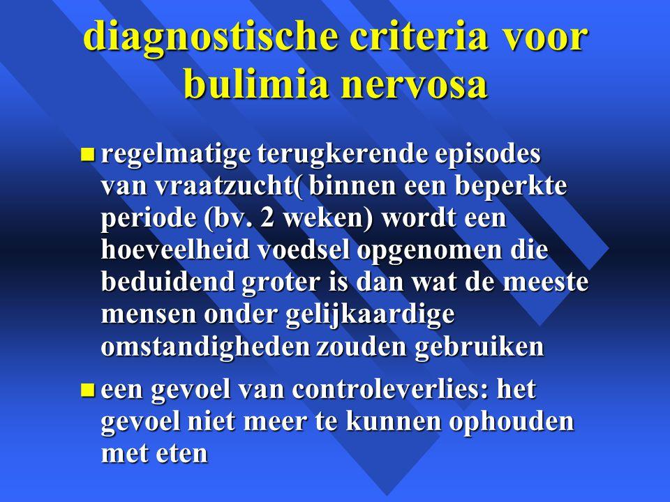 diagnostische criteria voor bulimia nervosa