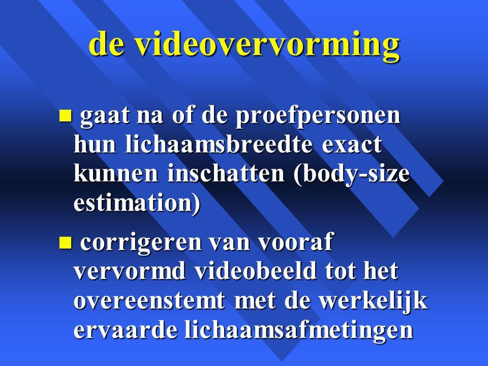 de videovervorming gaat na of de proefpersonen hun lichaamsbreedte exact kunnen inschatten (body-size estimation)
