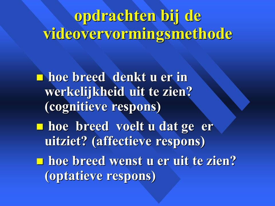 opdrachten bij de videovervormingsmethode