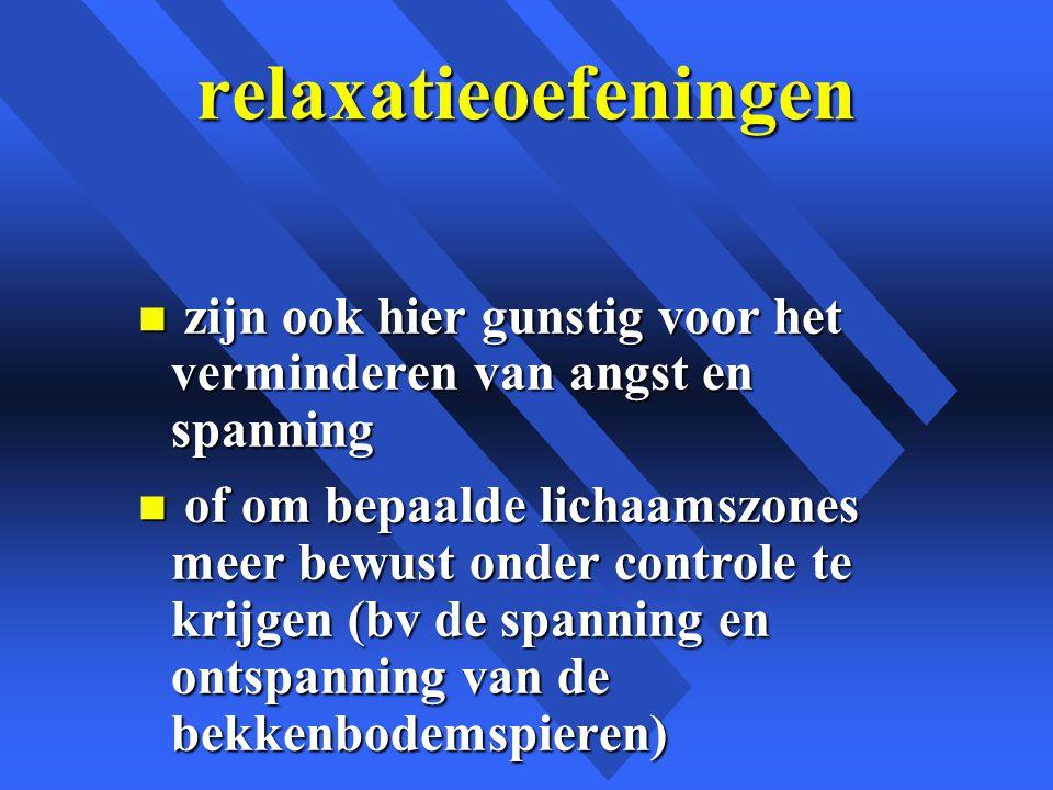 relaxatieoefeningen zijn ook hier gunstig voor het verminderen van angst en spanning.