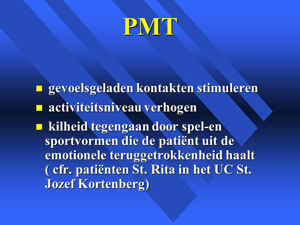 PMT gevoelsgeladen kontakten stimuleren activiteitsniveau verhogen
