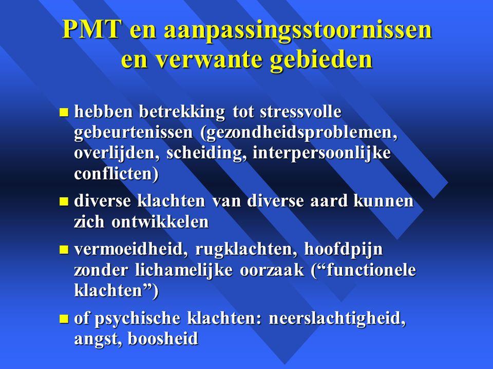 PMT en aanpassingsstoornissen en verwante gebieden