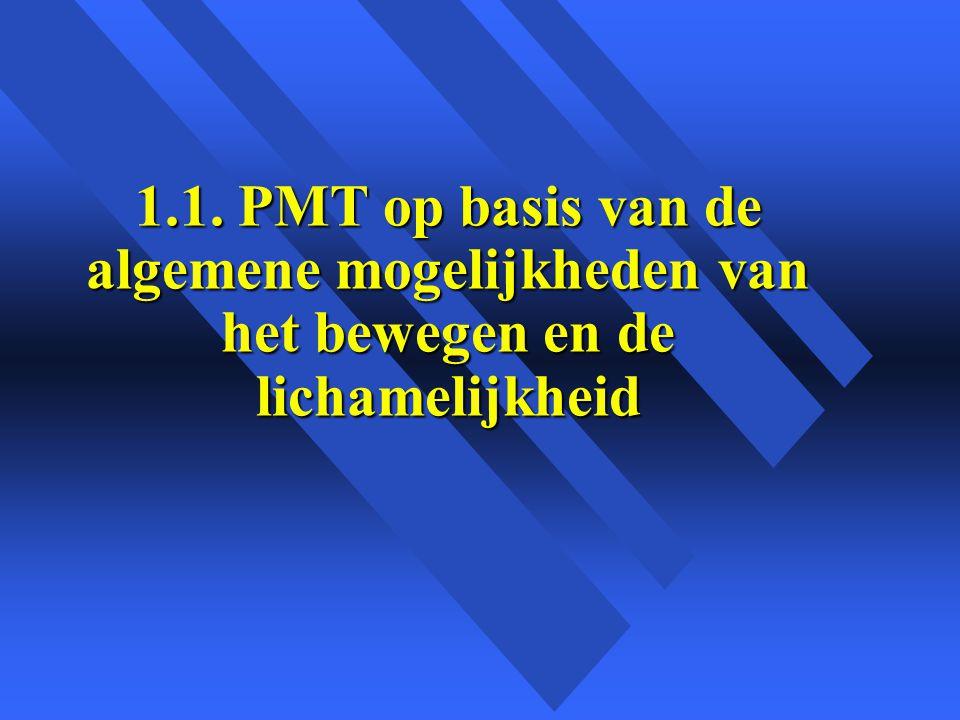 1.1. PMT op basis van de algemene mogelijkheden van het bewegen en de lichamelijkheid