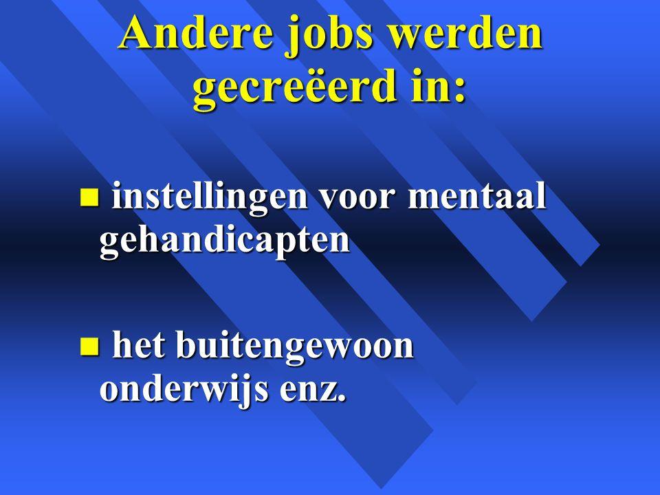 Andere jobs werden gecreëerd in: