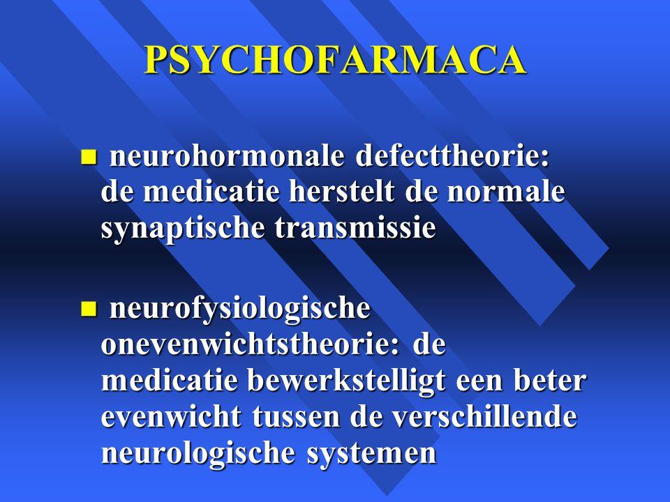 PSYCHOFARMACA neurohormonale defecttheorie: de medicatie herstelt de normale synaptische transmissie.