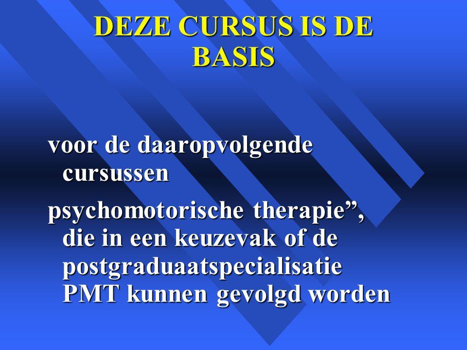 DEZE CURSUS IS DE BASIS voor de daaropvolgende cursussen