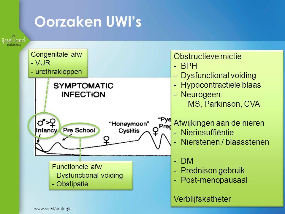 Oorzaken UWI's Obstructieve mictie BPH Dysfunctional voiding
