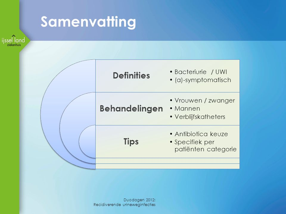 Samenvatting Definities Behandelingen Tips Bacteriurie / UWI