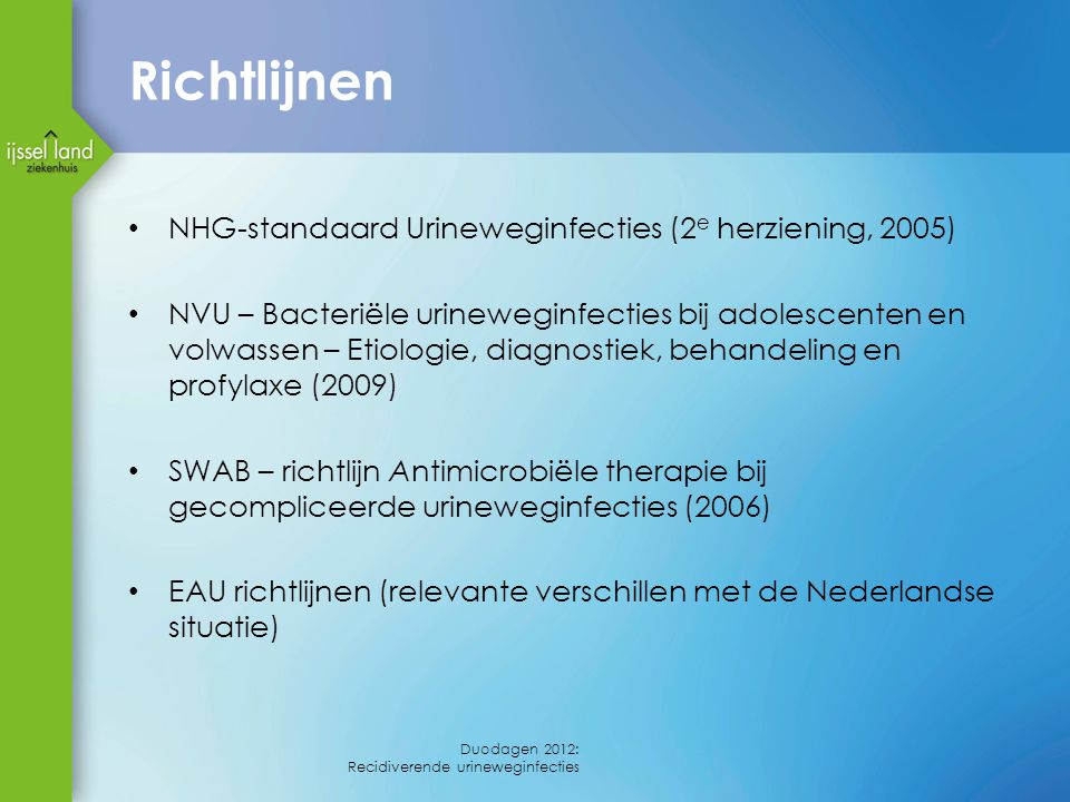 Richtlijnen NHG-standaard Urineweginfecties (2e herziening, 2005)