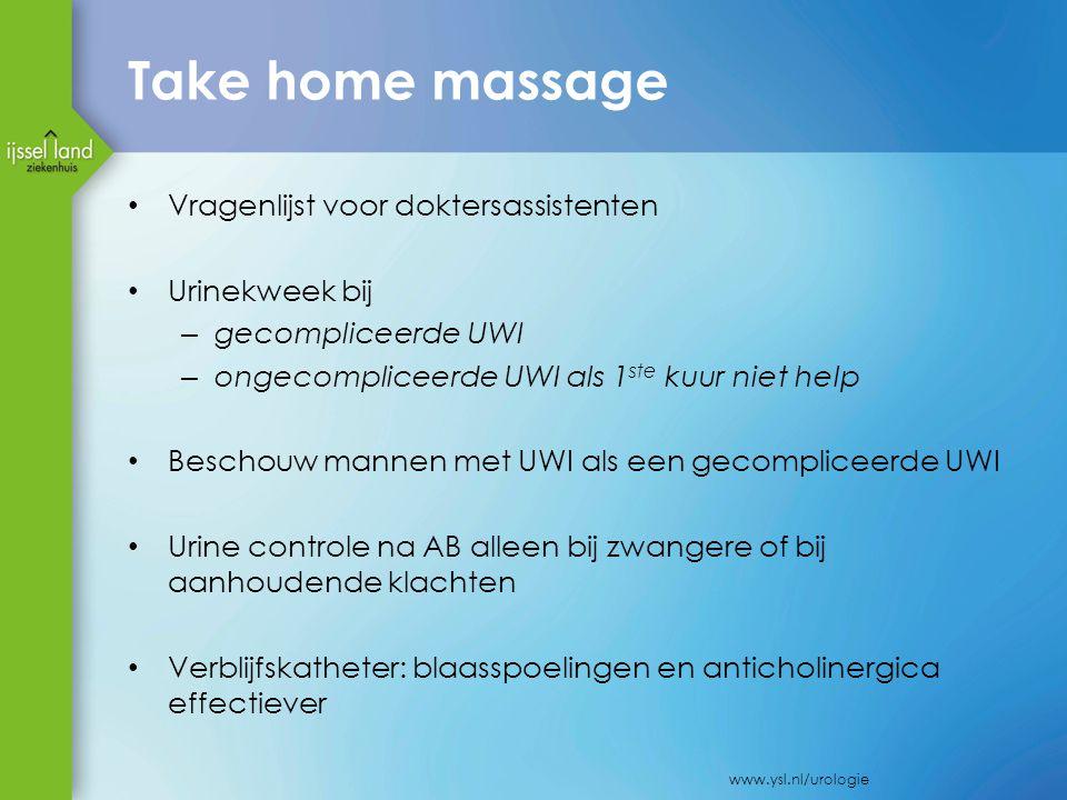 Take home massage Vragenlijst voor doktersassistenten Urinekweek bij