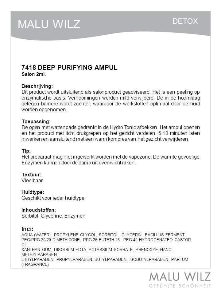 7418 DEEP PURIFYING AMPUL Inci: Salon 2ml. Beschrijving: