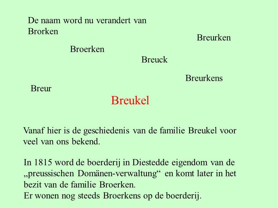 Breukel De naam word nu verandert van Brorken Breurken Broerken Breuck