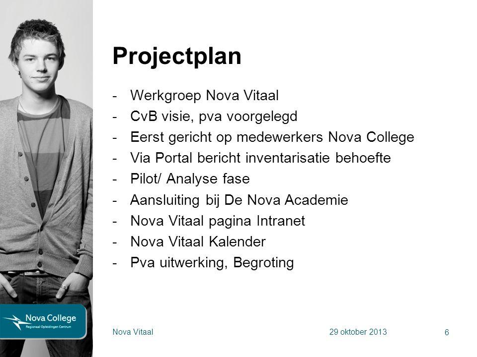 Projectplan Werkgroep Nova Vitaal CvB visie, pva voorgelegd