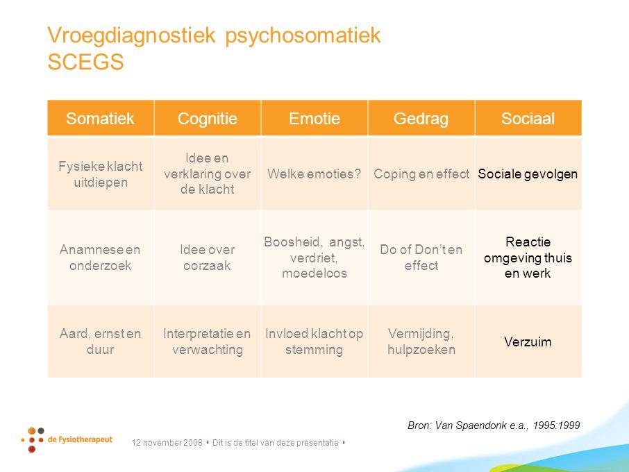 Vroegdiagnostiek psychosomatiek SCEGS
