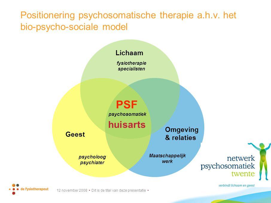 Positionering psychosomatische therapie a. h. v