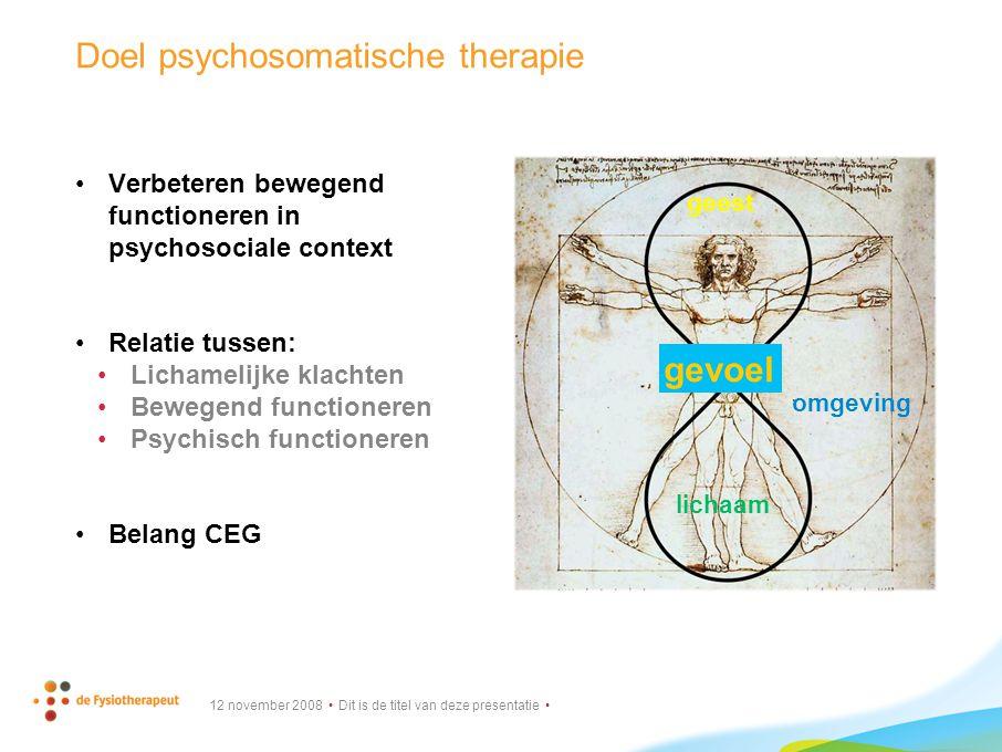 Doel psychosomatische therapie