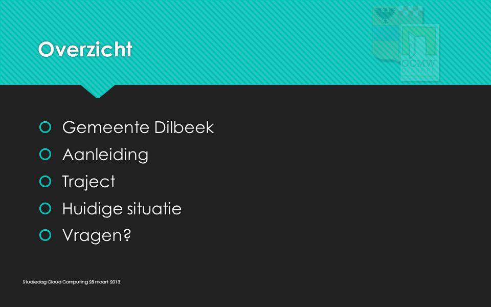 Overzicht Gemeente Dilbeek Aanleiding Traject Huidige situatie Vragen