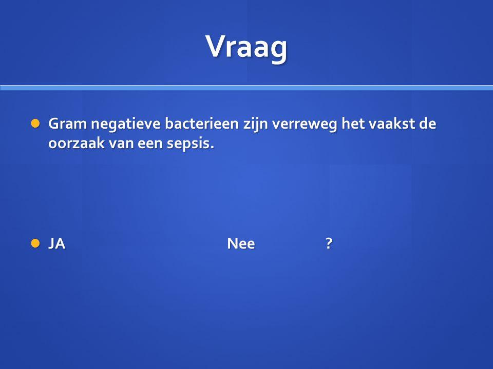Vraag Gram negatieve bacterieen zijn verreweg het vaakst de oorzaak van een sepsis. JA Nee