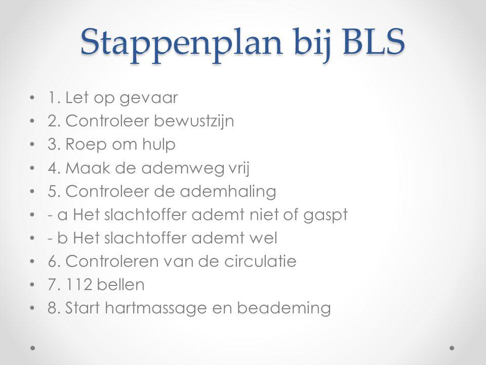 Stappenplan bij BLS 1. Let op gevaar 2. Controleer bewustzijn