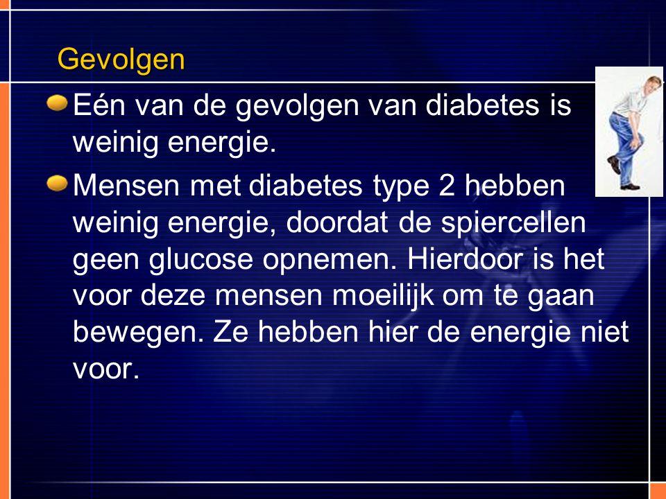 Eén van de gevolgen van diabetes is weinig energie.