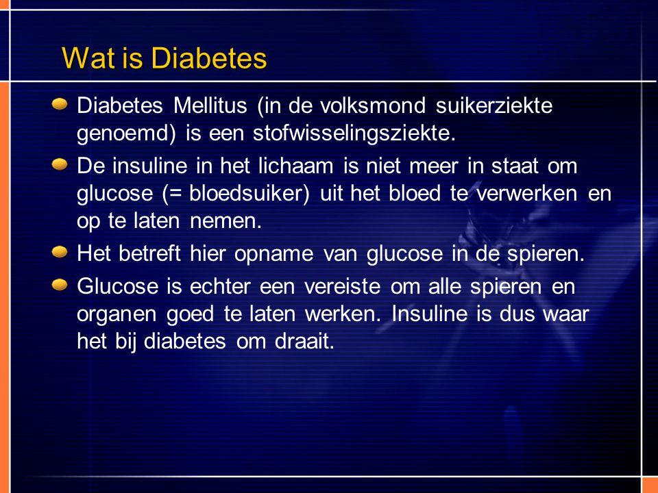 Wat is Diabetes Diabetes Mellitus (in de volksmond suikerziekte genoemd) is een stofwisselingsziekte.