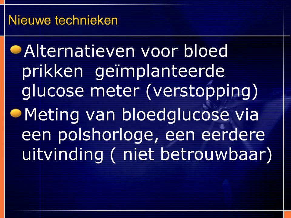 Nieuwe technieken Alternatieven voor bloed prikken geïmplanteerde glucose meter (verstopping)