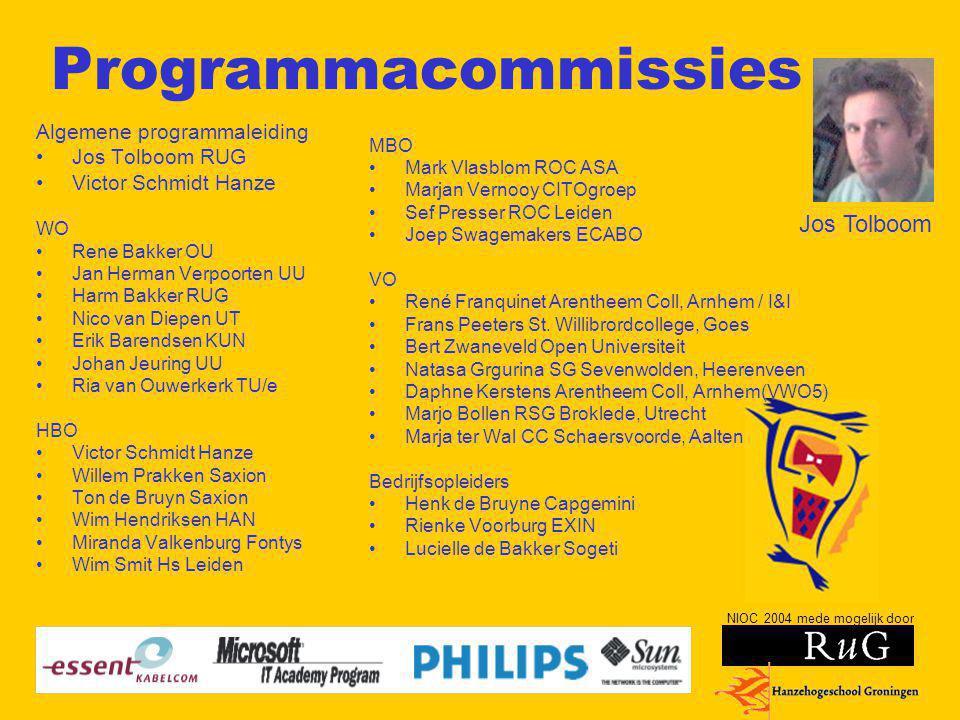 Programmacommissies Jos Tolboom Algemene programmaleiding