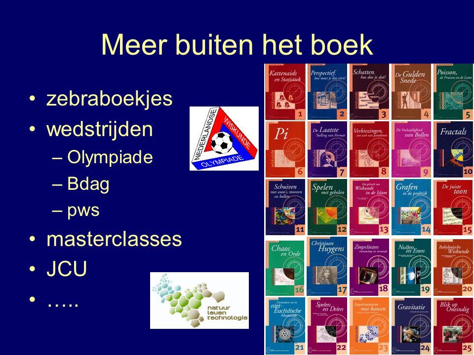 Meer buiten het boek zebraboekjes wedstrijden masterclasses JCU …..