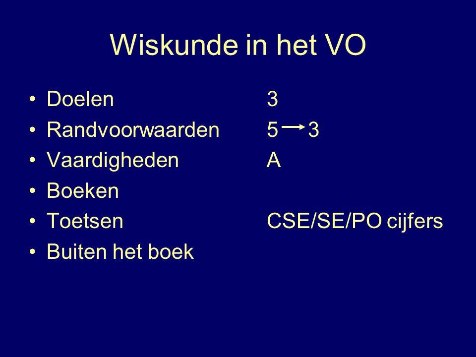 Wiskunde in het VO Doelen 3 Randvoorwaarden 5 3 Vaardigheden A Boeken