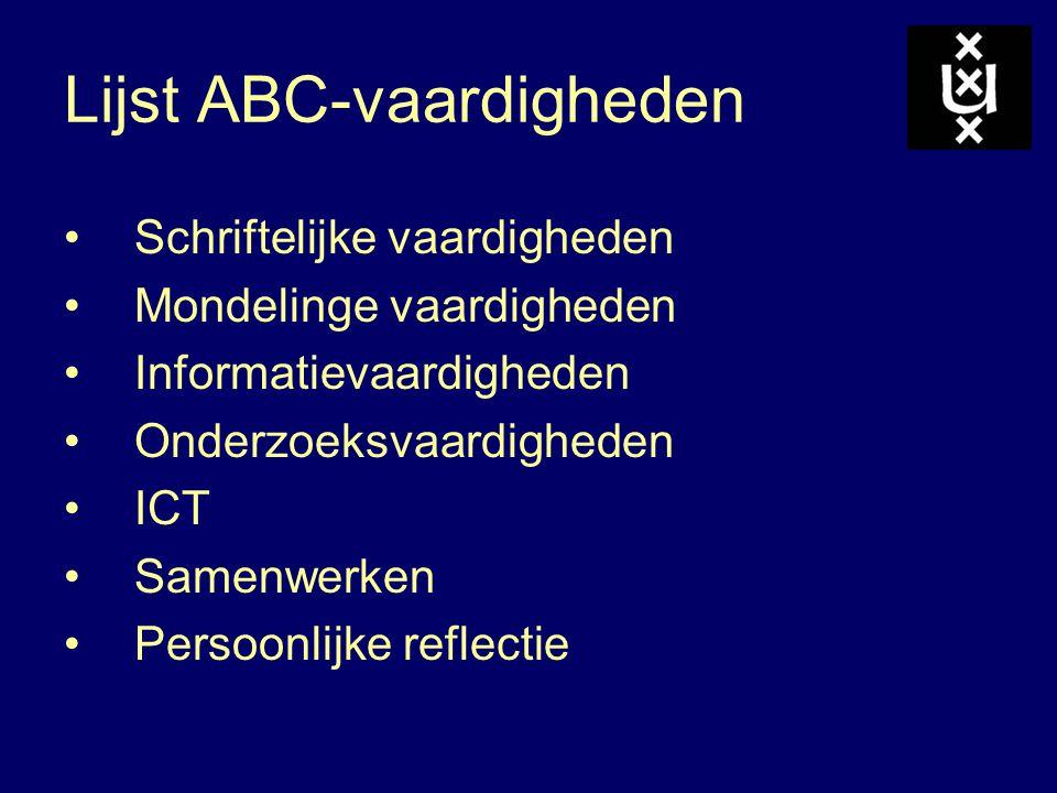 Lijst ABC-vaardigheden