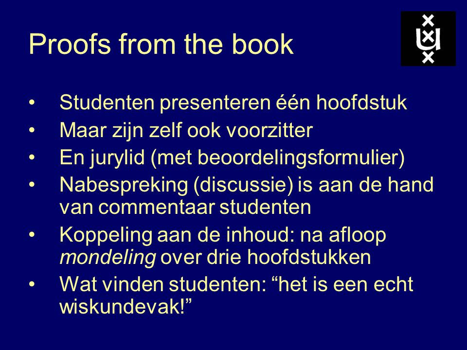 Proofs from the book Studenten presenteren één hoofdstuk