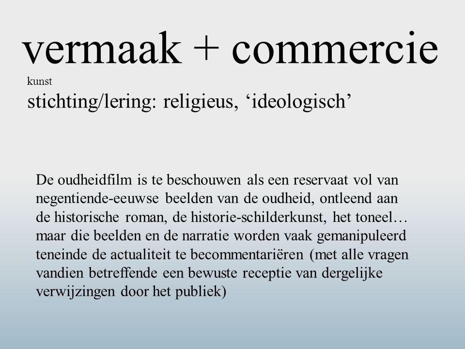 vermaak + commercie kunst. stichting/lering: religieus, 'ideologisch'
