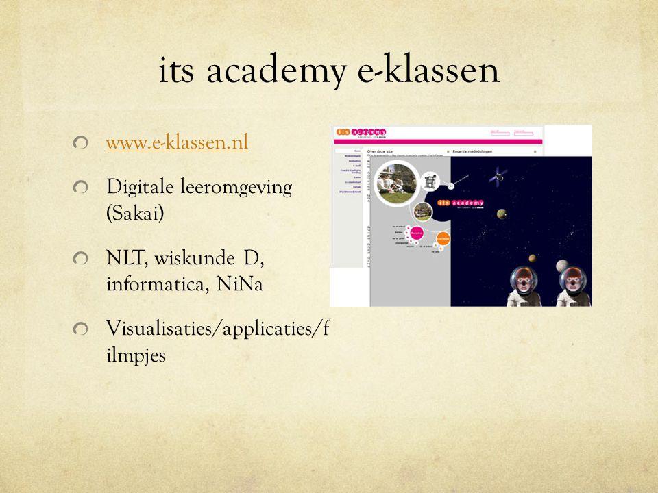 its academy e-klassen www.e-klassen.nl Digitale leeromgeving (Sakai)