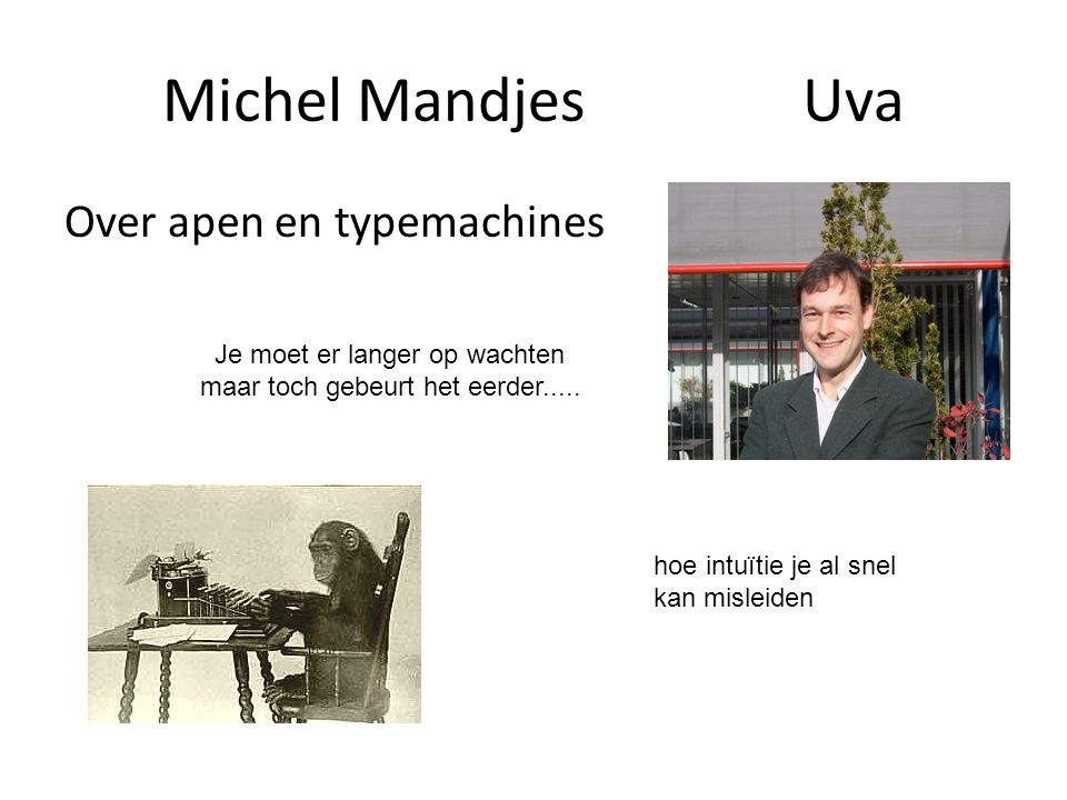 Michel Mandjes Uva Over apen en typemachines