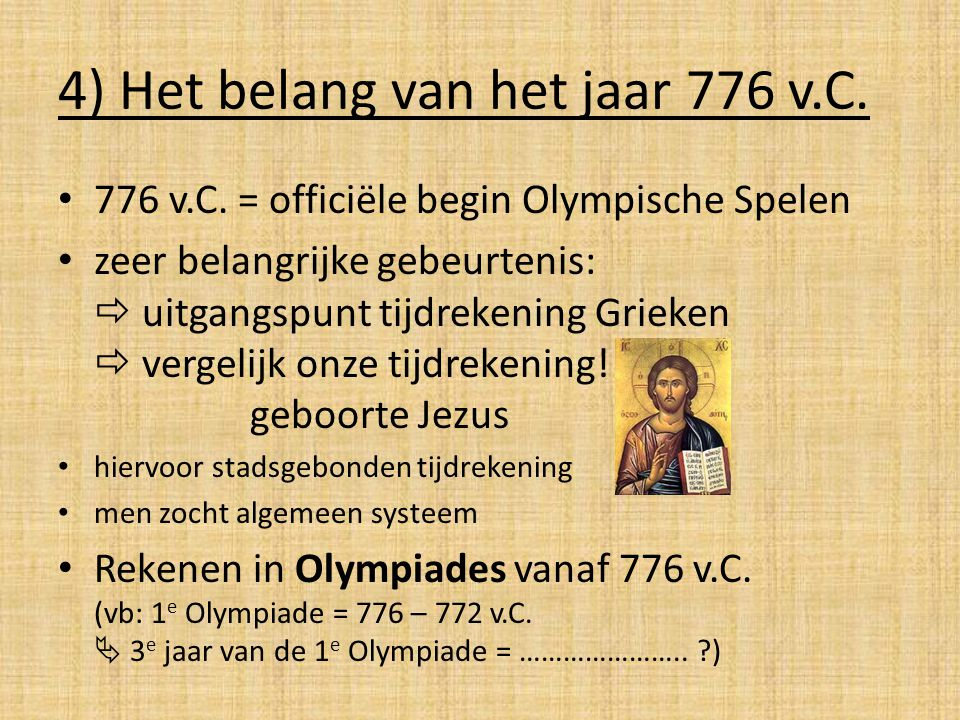 4) Het belang van het jaar 776 v.C.