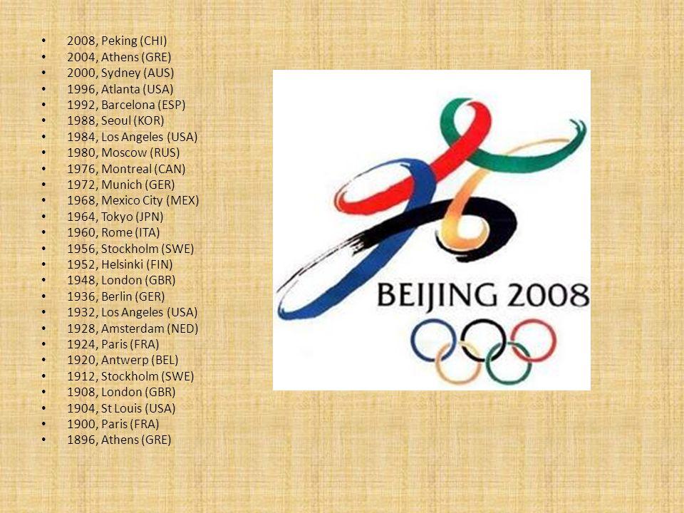 2008, Peking (CHI) 2004, Athens (GRE) 2000, Sydney (AUS) 1996, Atlanta (USA) 1992, Barcelona (ESP)