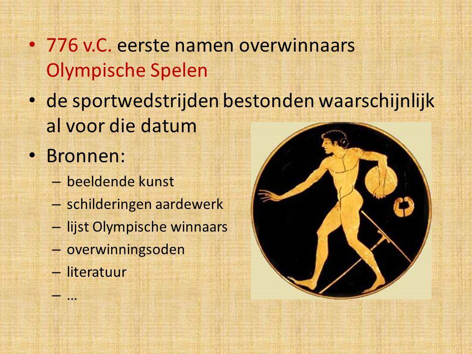 776 v.C. eerste namen overwinnaars Olympische Spelen