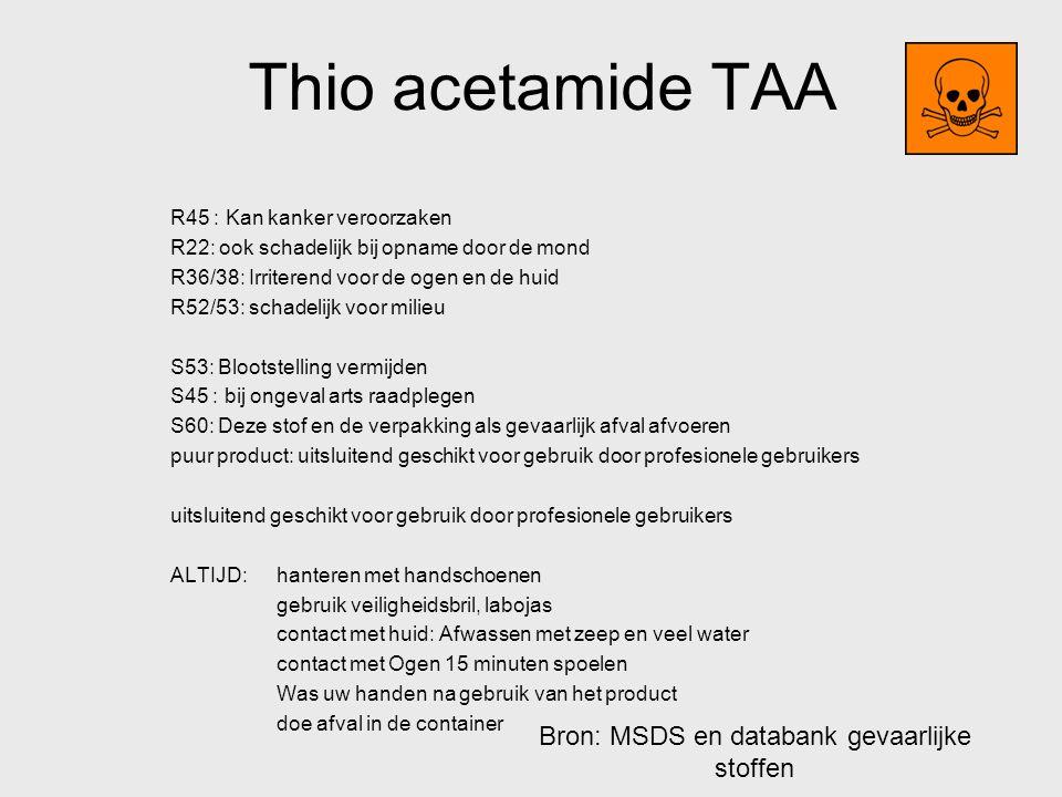 Bron: MSDS en databank gevaarlijke stoffen