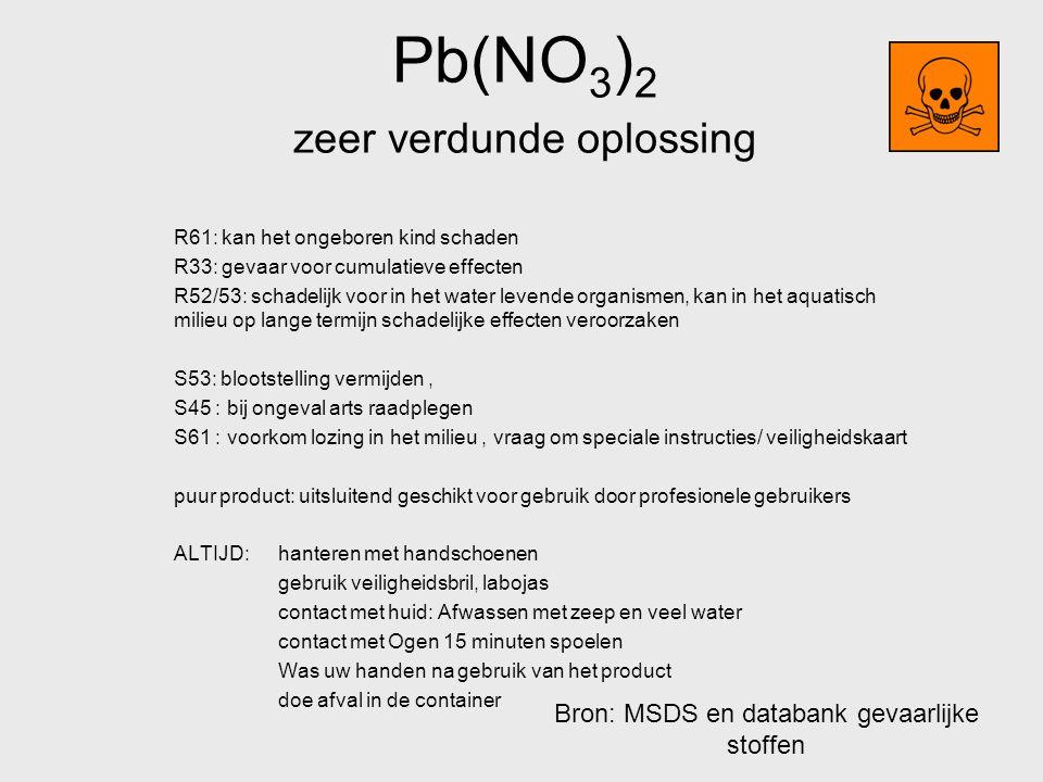 Pb(NO3)2 zeer verdunde oplossing