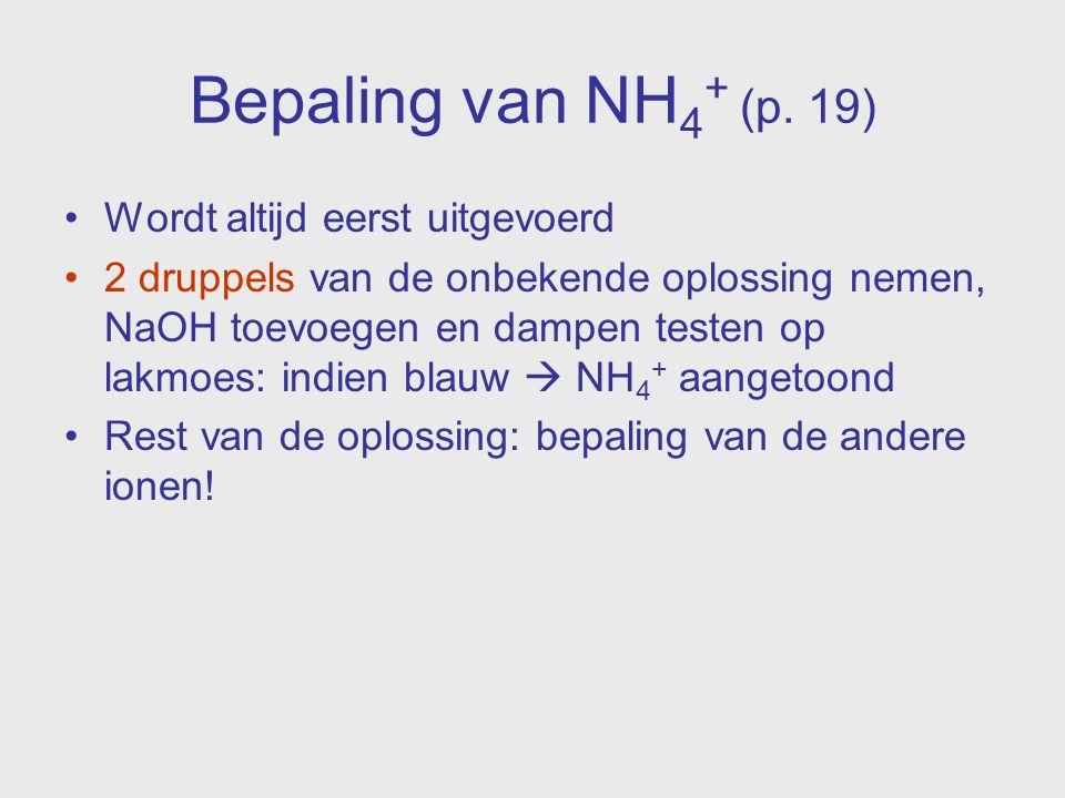 Bepaling van NH4+ (p. 19) Wordt altijd eerst uitgevoerd