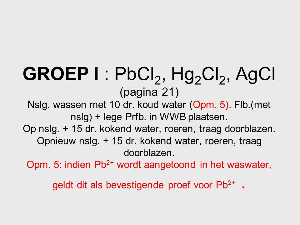 GROEP I : PbCl2, Hg2Cl2, AgCl (pagina 21) Nslg. wassen met 10 dr