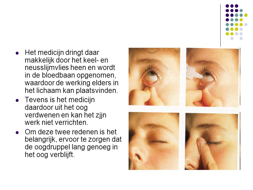 Het medicijn dringt daar makkelijk door het keel- en neusslijmvlies heen en wordt in de bloedbaan opgenomen, waardoor de werking elders in het lichaam kan plaatsvinden.