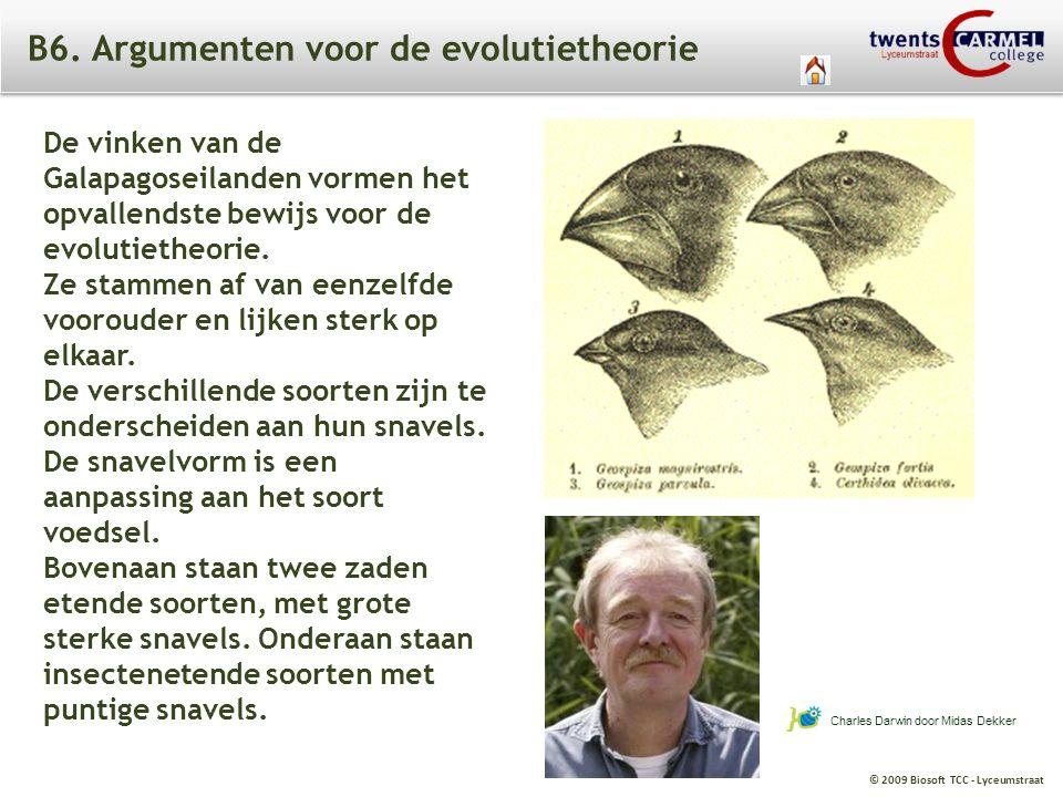 B6. Argumenten voor de evolutietheorie