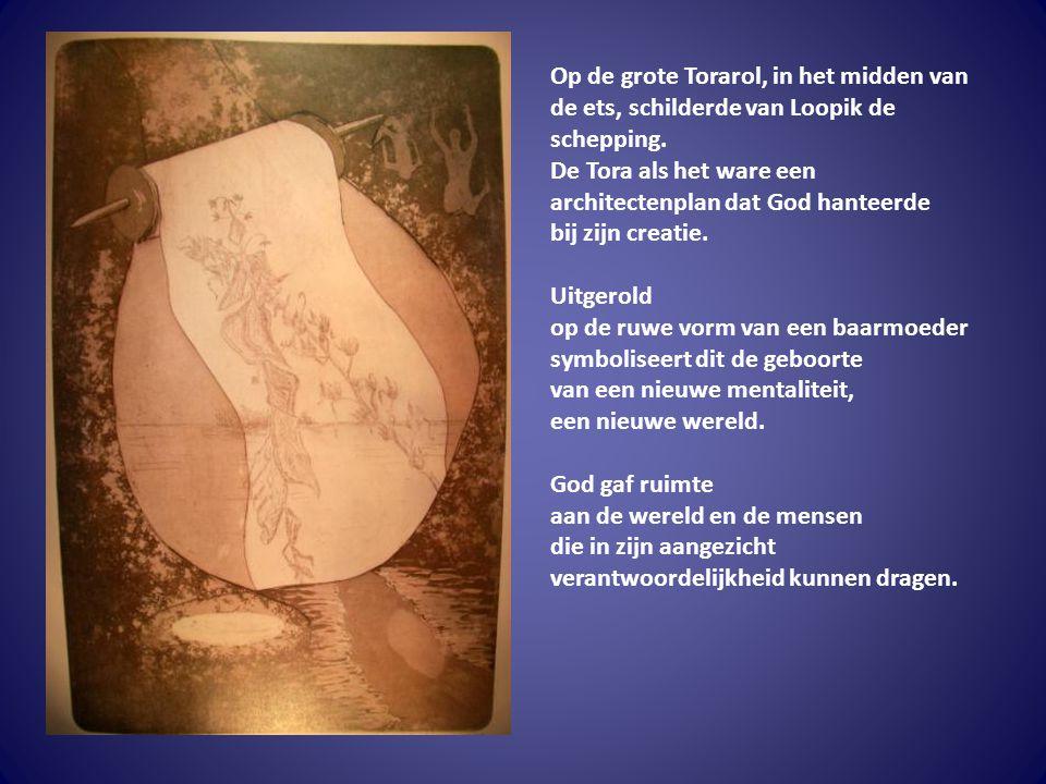 Op de grote Torarol, in het midden van de ets, schilderde van Loopik de schepping.