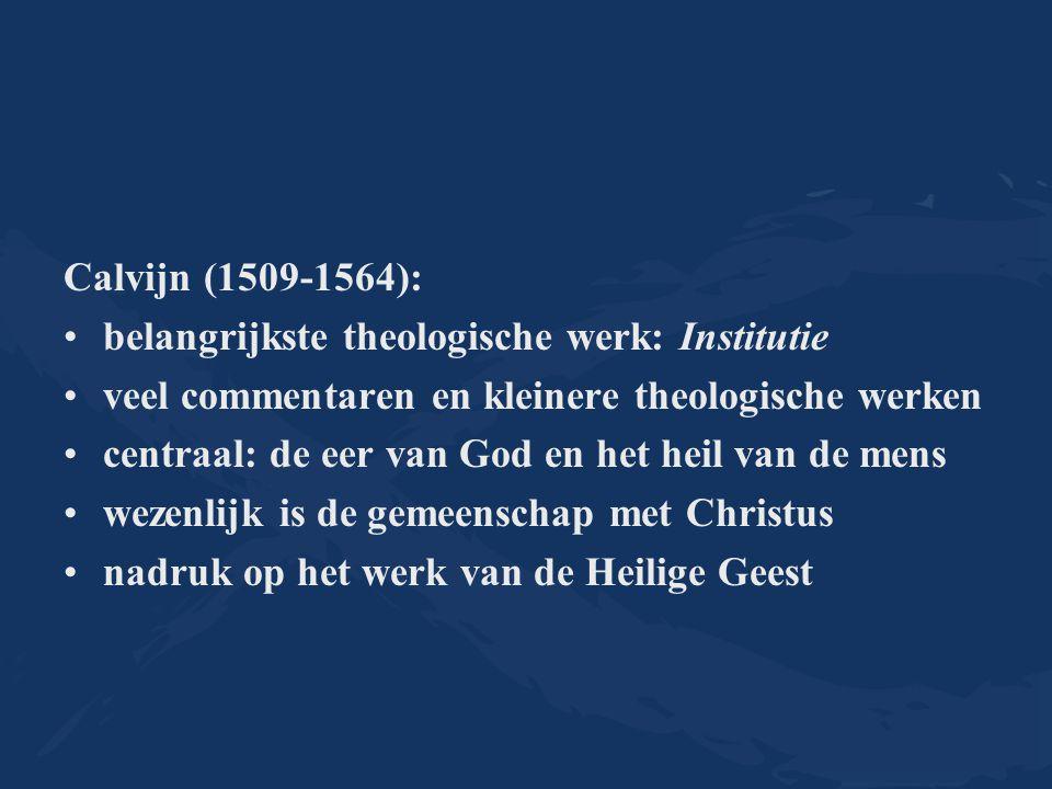Calvijn (1509-1564): belangrijkste theologische werk: Institutie. veel commentaren en kleinere theologische werken.
