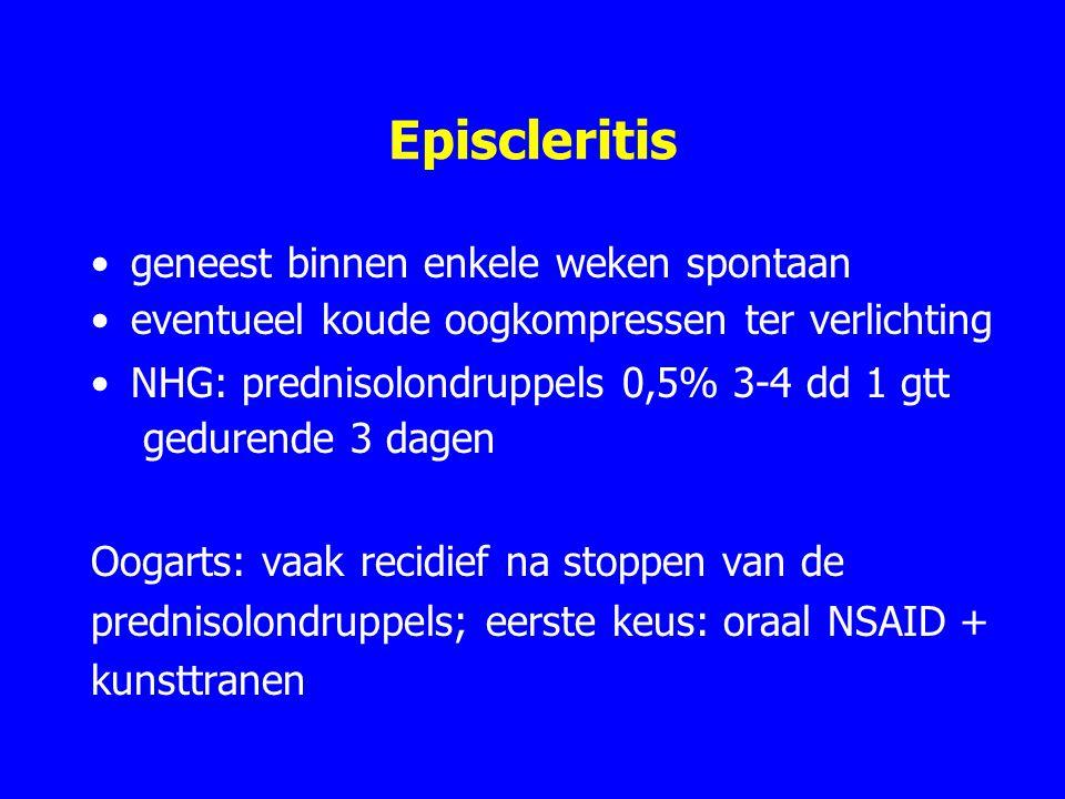 Episcleritis geneest binnen enkele weken spontaan