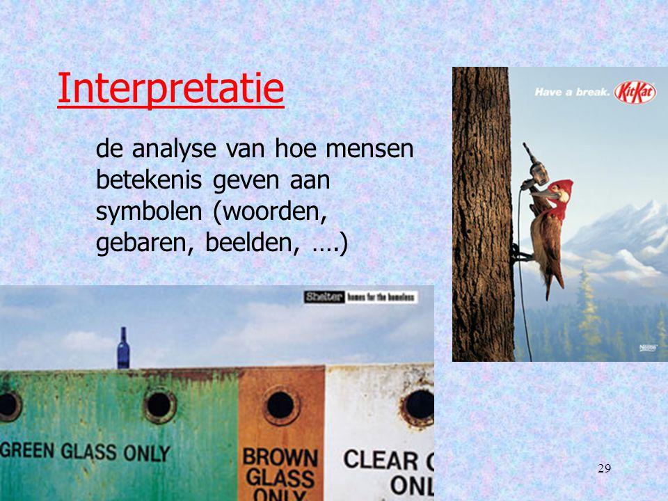 Interpretatie de analyse van hoe mensen betekenis geven aan symbolen (woorden, gebaren, beelden, ….)