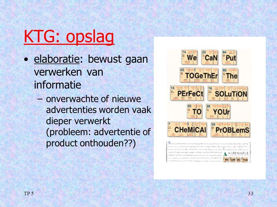 KTG: opslag elaboratie: bewust gaan verwerken van informatie