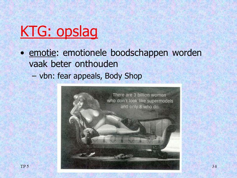 KTG: opslag emotie: emotionele boodschappen worden vaak beter onthouden. vbn: fear appeals, Body Shop.